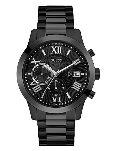 GUESS  Stainless Steel Black Ionic Plated Chronograph Bracelet Watch with Date. Color: Black (Model: U0668G5)