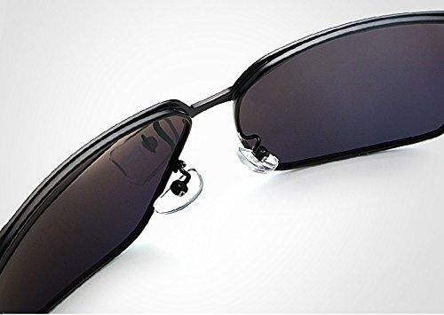 Gafas Color de Gafas Gafas Hombre Sol de Sol polarizadas de Gafas Sol Silver Hombres Jusheng de Retro Gafas Marca Sol de Golden de para Oro Negro UV400 SxTYn6