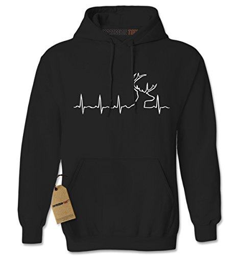 Hoodie Hunting Heartbeat Adult X-Large Black