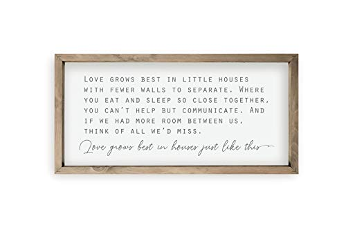 Love Grows Best In Houses Framed Wood Farmhouse Wall Sign (9×18)
