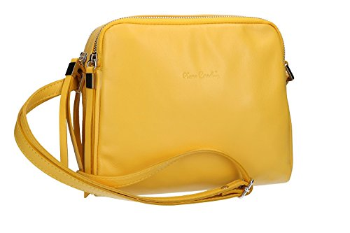 Borsa donna a tracolla PIERRE CARDIN giallo in pelle Made in Italy VN1535