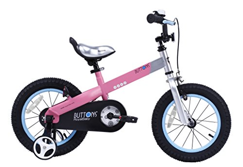 RoyalBaby Matte Buttons Kid's Bike, Boy's Bikes and Girl's Bikes with training wheels, Gifts for children, 16 inch wheels, Matte Pink