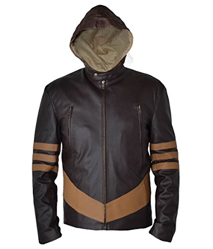 Marvel Jacket Yellow Costume (MSHC Men's X-Men Wolverine Faux Leather Jacket Large Coffee Brown &)
