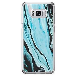 Samsung Galaxy S8 Transparent Edge Phone Case Blue Dark Marble Phone Case Womens Phone Case Marble Blue