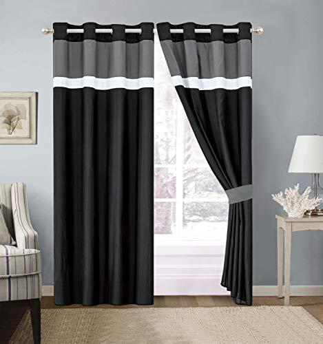 Modern 4 - Piece Color Block Black, Grey, White Grommet Curtain Set Drapes/Window Panels 120