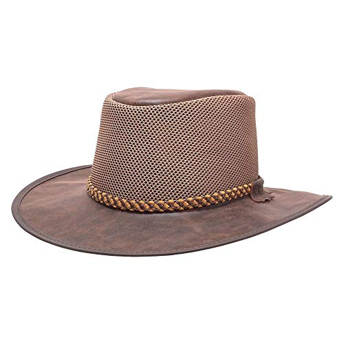 SOLAIR HATS Breeze by American Hat Makers Indiana Jones Leather Hat, Bomber Rust - Large