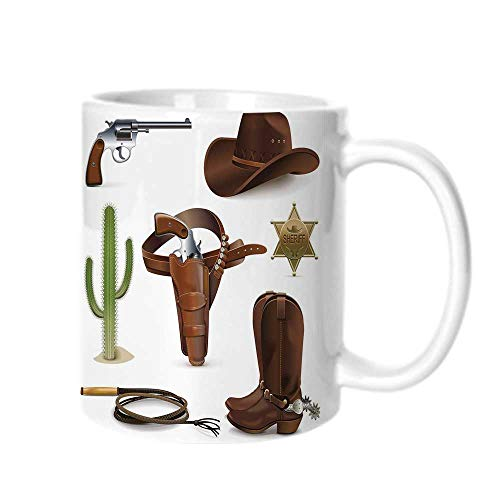 Western Fashion Coffee Cup,Realistic Cowboy Icons Sheriff of the Town Pistol Belt Boots Cactus and Hat Print Decorative For office,One size ()
