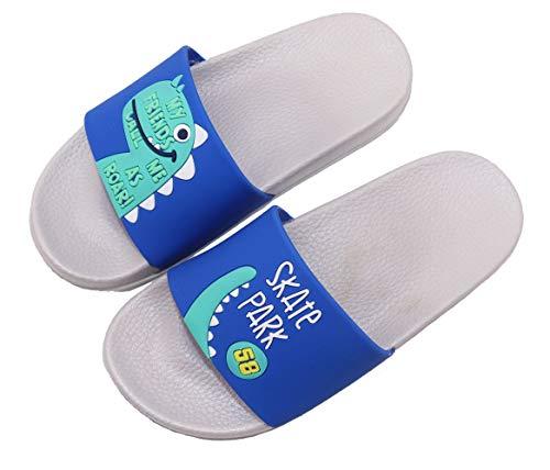 Elcssuy Kids Summer Slide Sandals Non-Slip Beach Water Shoes Pool Bath Slippers Sport Slides for Boys Girls(Toddler/Little Kid) Blue dinosaur28