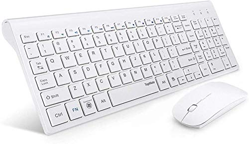 TopMate Wireless Keyboard and Mouse Combo | Ultra Slim Keyboard with Mute Mice | Designed for Office and Home Use Softly | White