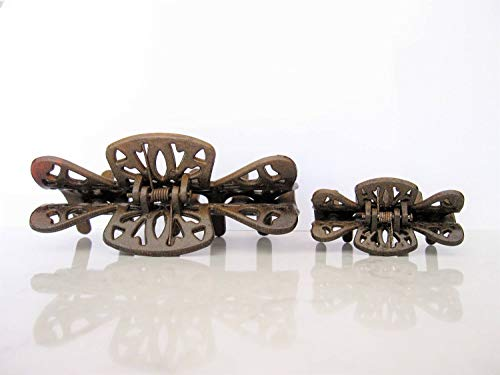 Small medium or large faux wooden filigree hair claw clip barrette