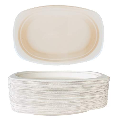 9 Inch Compostable Paper Plates - Oval Bagasse Sugarcane Heavyweight - 50 Pack