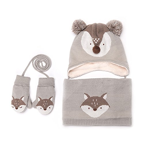 Baby Hats Baby Mittens Baby Girls Boys Winter Warm Knit Hat+Scarf+Gloves 3 Pieces Set (grey)