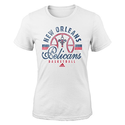fan products of NBA New Orleans Pelicans Girls Classic Basketball Arch Short Sleeve Tee, Medium (10-12), White