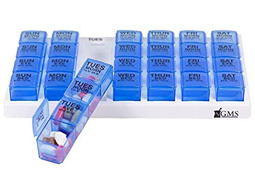 [GMS 4x/Day Weekly Pill Organizer with Transparent Blue Removable Daily Pill Boxes in White Tray] (Medication Tray Organizers)