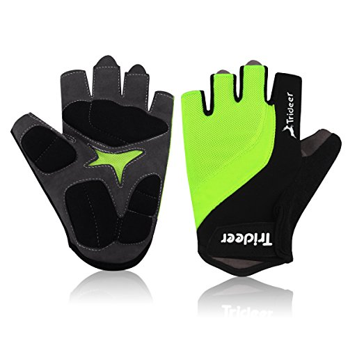 Trideer® Fahrrad handschuhe/Fahrradhandschuhe/Reithandschuhe/Cycling gloves/Cycle glove, Radsporthandschuhe Handschuhe Fitnessstudio Fitness Frauen Training Trainingshandschuhe Gym training crossfit sport fitness bodybuilding workout exercise glove, Fingerlos microfiber&lycra fabric &gel padded with handgelenk/wrist&strap support, Ideal gloves für Road Race, Mountainbike, Radsport, Reiten, Wandern, Bergsteigen, Camping und mehr Sports im Freien, für Damen/Herren/Frauen/Manner(Schwarz+Grün)