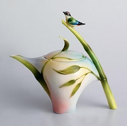 Amazon Franz Porcelain Bamboo Song Bird Design Teapot Franz
