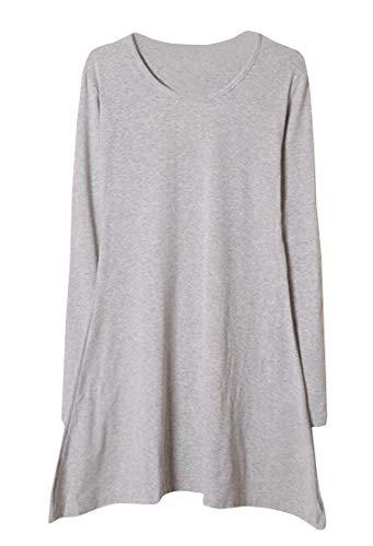 Les Femmes Cromoncent Manches Longues Plissée Col Ras Du Cou Décontracté Solide Évasé T-shirt Robe Gris Clair