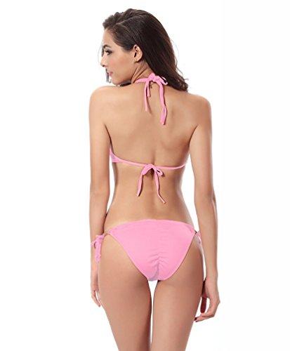 Baymate Mujer Dos Pieza Trajes De Baño Bandage Bañador Swimsuit Cuello Hálter Bikini Set Pink