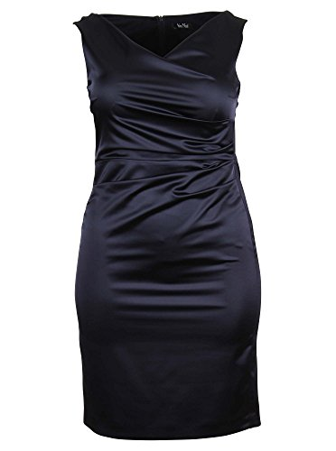 Glänzendes Kleid mit Raffungen in dunkelblau zfP8YSj9 - lackey ...