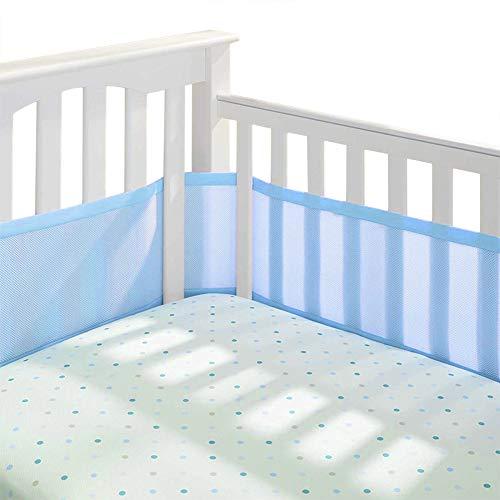 Permande Breathable Mini Net Crib Bumper Pads, Collision-Proof Washable Nursery Bedding Mesh Crib Liner Set Portable Detachable Organic Crib Guardrail for Baby Girls & Boys (Blue) from Permande