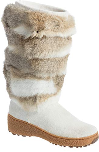 Women's Norma 2 Wool-Lined Rabbit Fur and Calfskin Boots White/Multi