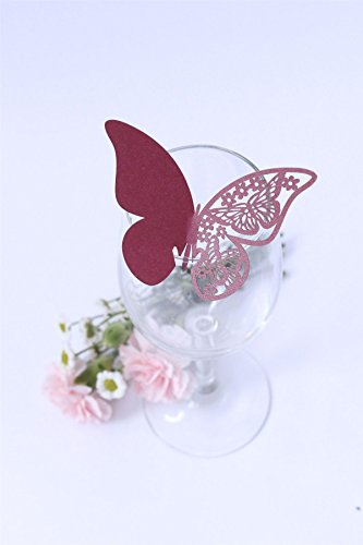 Butterfly Place / Name Card - Pack of 10 Cards - for Wedding & Party - Pearl Purple
