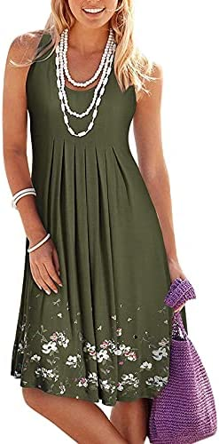 POTO Summer Dresses for Women Beach Printed Mini Dress Floral Sundress Sleeveless Casual Boho Tank Midi Dress