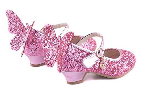 56ea97e7 ... YOGLY Zapatos de Princesa de Bowknot Zapatos de Tacón Alto de Moda para  Niñas Rosa ...