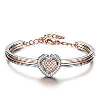 "J.NINA ""Cupid Heart"" 7 Inches Golden Plated Double Heart Bangle, Made with Swarovski Crystals Combo Women Bracelet"