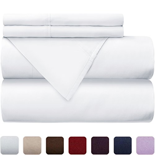 Mellanni 100% Cotton Bed Sheet Set - 300 Thread Count Sateen Weave - Natural, Soft, Deep Pocket Quality Luxury Bedding - 4 Piece (Queen, White)