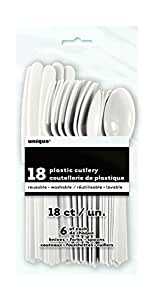 Plastic White Set For 6 Guests, 18 Pieces