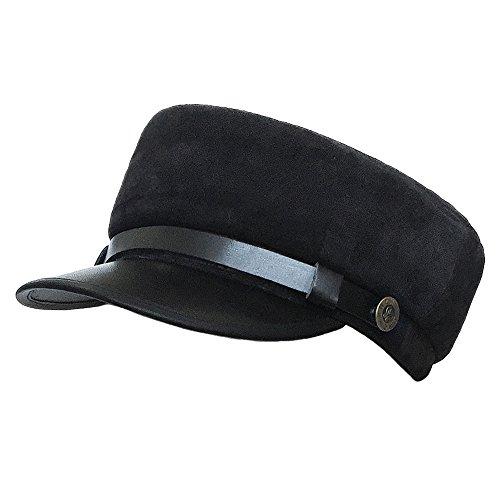 Black Suede Camo (lethmik Military Cadet Hat Unisex Genuine Leather Army Camo Hats Costume L-Suede-Black)