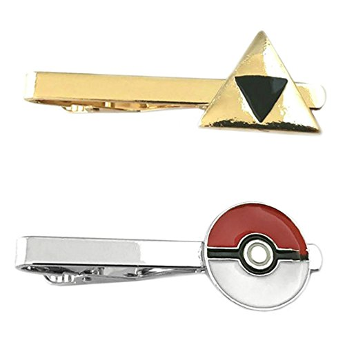 Outlander Video Games - Legend of Zelda Triforce & PokeMon PokeBall - Tiebar Tie Clasp Set of 2 Wedding Superhero Logo w/Gift Box by Outlander