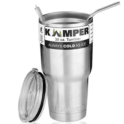 KAMPER 30 Oz Tumbler Set Stainless Steel | Double-Wall Vacuum Insulated, Keeps Cold & Hot Longer | FREE BONUS Splash-Proof Lid & Metal Straw w/Brush | New Travel Bundle Buy a Gift for Your Loved Ones