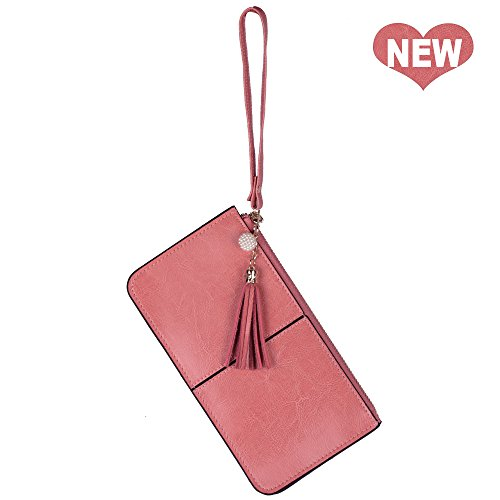 Lovena Soft Leather Wristlet Smartphone Zipper Wallet Tassel Wristlet (Light Carmine Pink) by Lovena
