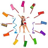 Dance Ribbon Streamer - Rhythmic Gymnastics Ribbon Wands with Rod for Artistic Dancing and Baton Twirling, 12 Pack