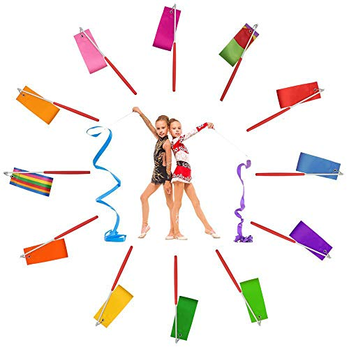 Dance Ribbon Streamer - Rhythmic Gymnastics Ribbon Wands with Rod for Artistic Dancing and Baton Twirling, 12 Pack -