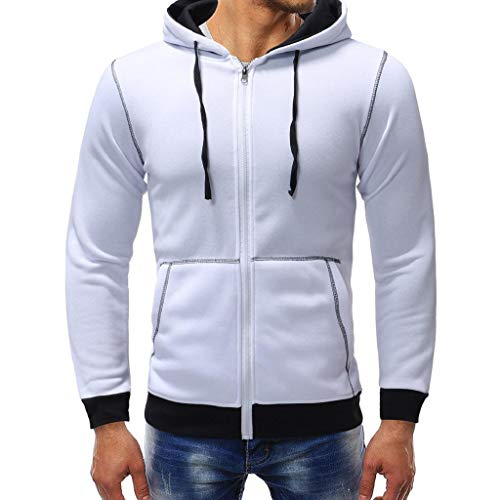 Uomo Camicetta Cappuccio Cerniera Autunno Lunghe Felpa Bianco Maniche Con Outwear Abcone Pile Giacche Cappotto In Casuale qYft8v