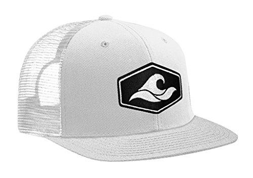 (Joe's USA Koloa Surf Hexagon Patch Logo MESH Snapback Hat-WhiteWhite/p)