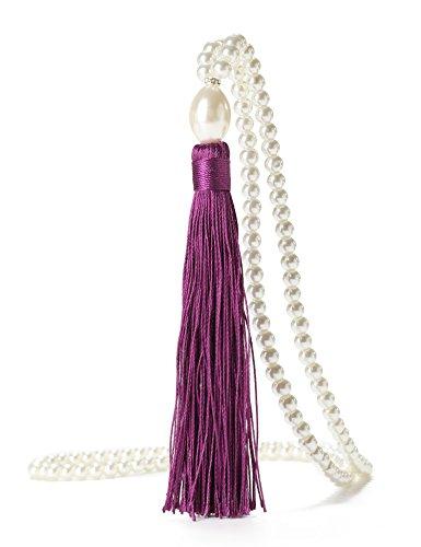1920's Faux Pearls Flapper Great Gatsby Vintage Tassel Long Pendant Necklace (Purple)