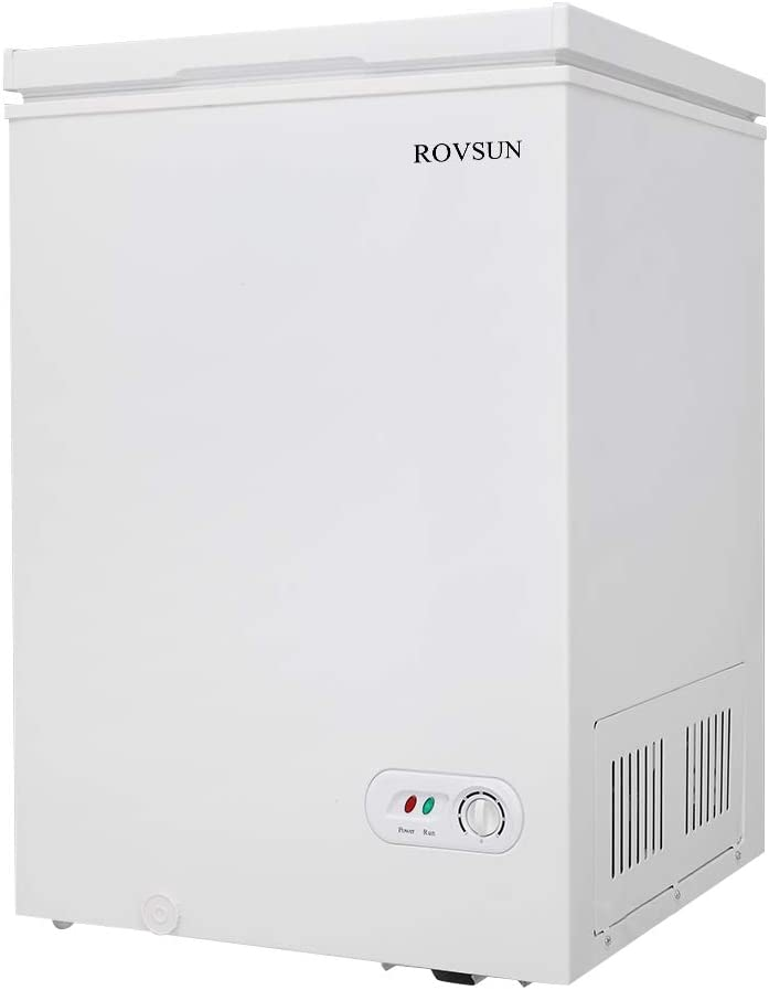 ROVSUN 3.5 Cubic Feet Chest Freezer, Compact Freezer with Top Open Door, Adjustable Thermostat, Ideal for Home Kitchen Office, White