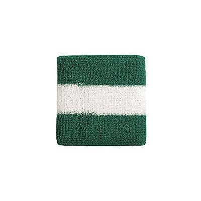 Striped Cotton Terry Cloth Moisture Wicking Wrist Band (Kelly Green/White)