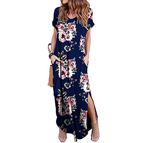 (TnaIolral Women Dresses Summer Loose Pocket Long Short Sleeve Split Maxi Skirt)