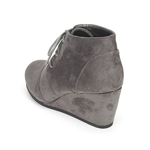 DREAM PAIRS Womens Fashion Casual Outdoor Low Wedge Heel Booties Shoes Tomson-grey 5sbHC9