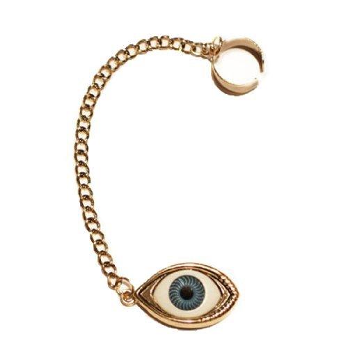 Earring Cuff with Chain Evil Eye, Ear Cuff Evil Eye Chain Dangle, Cartilage Earrings BodyJ4You FFJ9021-GO