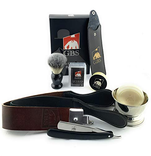 """Men's Shave Ready Straight Razor 7 Piece Set; Stainless Steel Blade 6/8"""" Wood Razor Scales, Leather Strop, Stainless Bowl & Glycerin Shaving Soap Badger Brush, Case & Alum Block Gift Holiday Christmas"""