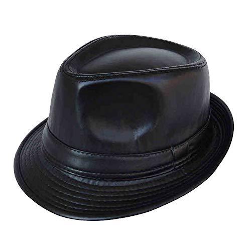 (KKONION Panama Hat PU Leather Men's Balck Chapeu Feminino Fedora Hat for Gentleman)