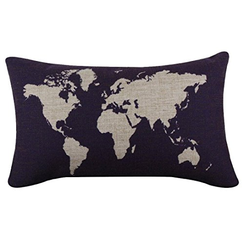 Tenworld Burlap Linen World Map Decorative Pillow Case Cushion Cover Dark Blue