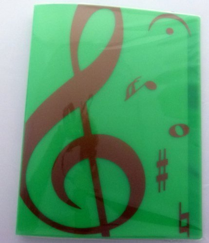 Softcover Display Book (Music themed 20 Pockets Plastic Folder Display Book Soft Cover - Green Treble Clef design by FunMusicOnline)