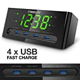LED Alarm Clock with USB Charger - 4 USB Port for iPhone/iPad/iPod/Android Phone